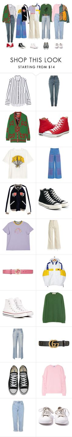"""""""Replay"""" by bubbles-aqua ❤ liked on Polyvore featuring MANGO, Topshop, Gucci, Converse, FLOW the Label, PèPè, Rachel Comey, Tommy Hilfiger, Marni and AG Adriano Goldschmied"""
