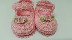 Baby Girl Booties Crochet Mary Jane  Newborn Baby Girl by barreez