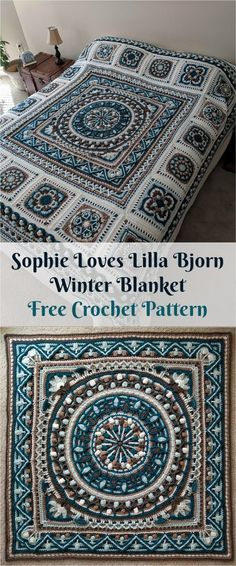 "[Free PDF Pattern] Sophie ""Loves Lilla Bjorn"" Winter Blanket a href='/tag/crochet' a href='/tag/homedecor' a href='/tag/crochetpattern' a href='/tag/crochetlove' Mandala Au Crochet, Crochet Motifs, Crochet Quilt, Crochet Blocks, Afghan Crochet Patterns, Crochet Squares, Crochet Home, Diy Crochet, Blanket Crochet"