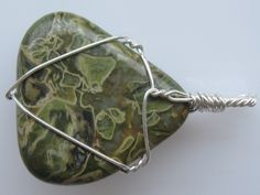 Jasper pendant wire wrapped in sterling silver Wire Wrapped Pendant, Wire Wrapped Jewelry, Chainmaille, Stone Pendants, Wire Wrapping, Natural Stones, Jasper, Giveaway, Sterling Silver