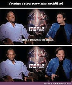 Captain America civil war falcon Bucky what would your superpower be if you could have one Funny Marvel Memes, Dc Memes, Avengers Memes, Marvel Jokes, Marvel Dc Comics, Marvel Avengers, Funny Memes, Hilarious, It's Funny