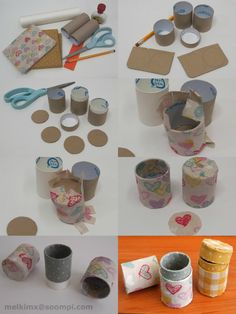 toilet paper containers! In the first picture, I forgot to include the scotch tape and flat cardboard for the top and bottom.