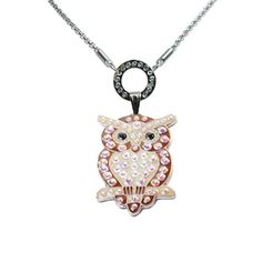 """Owl Charm with """"Allure"""" Necklace. This Wise owl will guide you wherever you go. A wonderful gift for Chi Omega Sorority Sisters, and Kappa Kappa Gamma Sorority Sisters. The Necklace is magnetic so you can change the charm if you want to wear something else!   #owlnecklace #owlcharm #ChiO #KKG #ballmarker #sorority #sisterhood #seniorgiftideas #sistersforever #wiseowl #wisdom"""