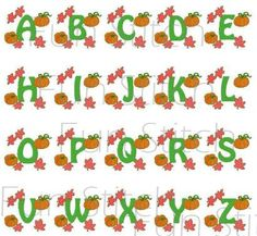 This is a set digitized machine embroidery designs. You need to have an embroidery machine and knows how to transfer to your machine.  All 26 pumpkin letters are included. Each letter will fit into 4x4 hoop. Each is 3.69x3.34. The following formats are available:  PES HUS ART DST EXP XXX JEF VIP VP3 All designs are for instant download from etsy.  Terms of Use All my designs are copyright protected and belong solely to Fun Stitch. You may embroider these designs on the items that you sell…