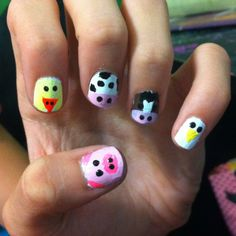 I painted farm animals :) hehe! Super easy to do! :)