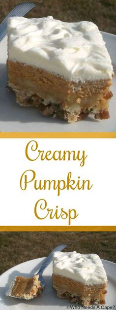 Creamy Pumpkin Crisp is a delicious alternative to traditional pumpkin pie. Serve for the holidays for a great dinner addition. {pinned over times} (thanksgiving food pie fillings) 13 Desserts, Delicious Desserts, Dessert Recipes, Polish Desserts, Health Desserts, Dinner Recipes, Pumpkin Recipes, Fall Recipes, Holiday Recipes