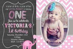 Girls pink and gray Birthday Invitation Chalkboard Elephant First Birthday Invitation You Print  Digital Invitation 4x6 or 5x7