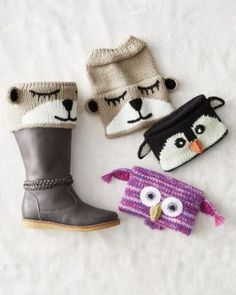 Inspired by the current boot-sock trend, but designed with a sweet twist. Each o… Inspired by the current boot-sock trend, but designed with a sweet twist. Each of these quirky knit cuffs has a cute animal face that peeks out… Continue Reading → Crochet Boot Cuffs, Crochet Boots, Knit Crochet, Fashionable Snow Boots, Stylish Boots, Hunter Boots Outfit, Mode Crochet, Stocking Stuffers For Kids, Knit Leg Warmers