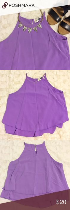Lavender Crop | Honey Love Purple tank crop top with thin straps. More fitted towards the top and flows out Honey Love Tops Crop Tops