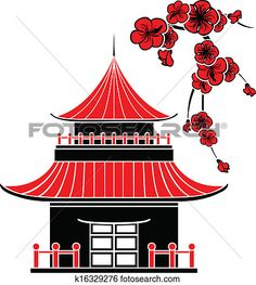 Asian House And Cherry Blossoms, Stencil Clip Art Royalty Free, Vectors And Illustration. Chinese Pagoda, Japanese Pagoda, Japanese China, Japanese Art, Japanese Style, Cherry Blossom Vector, Cherry Blossoms, Stencil, Asian House