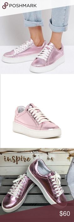 Free People Letterman Metallic Leather Sneakers Free People Letterman Metallic Leather Sneakers Stunning trendy pink metallic tennies  Great chunky heel Leather upper  Worn once then I broke my foot! I love these shoes! Preloved in excellent condition   Bundle and save Free People Shoes Sneakers