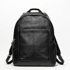 Coach Heritage Web Leather Backpack F70747 Suggested retail $398, inside zip and multifunction pockets, zip closures, top handle, adjustable shoulder straps, outside side open pockets. Coach Bags Backpacks
