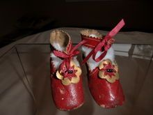 "3"" Red Leather Shoes with Gold & Red Rosettes - J and J Trademark on the Soles"