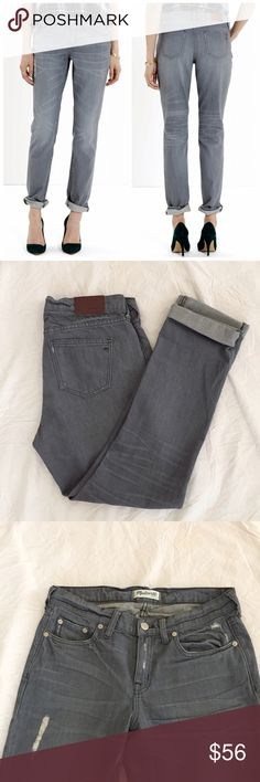 "Madewell slim boyjean A leaner take on the boyfriend jeans. Slouchy fit through hip, with a relaxed slim leg. Moderate light distressing design. Inseam 30"". Barely worn, in excellent condition. Madewell Jeans Boyfriend"