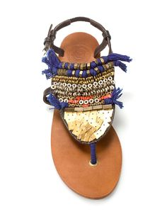 by zara. Wondering if I could decorate a plainer pair of simple thong-style  sandals with cloth and beaded goodness like this. 84a77bc2030f