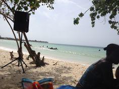 Public beach in Trelawny, Jamaica.
