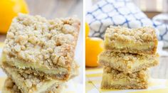 Easy Creamy Lemon Crumb Bars with a quick oatmeal crumb base and a sweet, tart creamy lemon filling that is a cross between lemon curd and lemon cheesecake. Cream Cheese Lemon Cookies, Brownie Recipes, Dessert Recipes, Breakfast Cookie Recipe, Lemon Filling, Lemon Cheesecake, Lemon Bars, Lemon Recipes, Cookie Bars