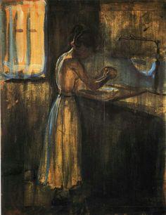 Edvard Munch. Muchacha Lavando