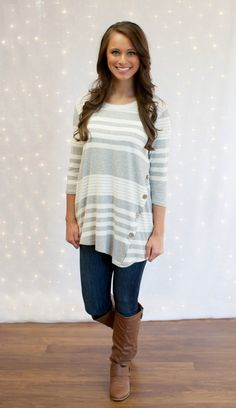 The Pink Lily Boutique - Striped Button Side Tunic Grey, $34.00 (http://thepinklilyboutique.com/striped-button-side-tunic-grey/)