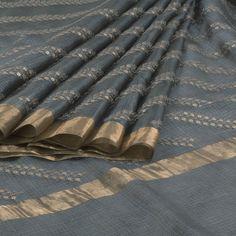 Vikrant Suva Grey Hand Embroidered Kota Silk Saree with Tissue Border 10005285 - AVISHYA