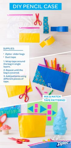 Turn a Ziploc® bag into a custom pencil case with this easy DIY project. Such a fun craft to do with your kids to help them get excited for school. Plus, it's perfect for storing art supplies like crayons, colored pencils, and markers. Be sure to use brightly colored tape and fun patterns.
