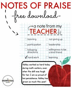 FREE Positive Notes Home. Perfect for a PBIS School and building relationships with students! From The Brown Bag Teacher