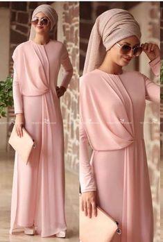 Utterly beautiful and stylish! Islamic Fashion, Muslim Fashion, Modest Fashion, Fashion Dresses, Hijab Outfit, Hijab Dress, Modest Wear, Modest Dresses, Simple Dresses