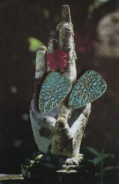 2 CABOCHONS FEUILLES - BOHEME - VERT DE GRIS - HIPPIE CHIC - ARGILE POLYMERE : Accessoires pour bijoux par atelier-fujigirls