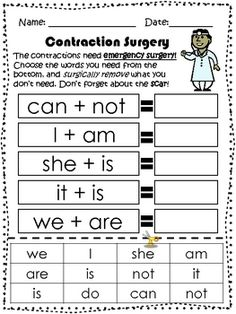 Contraction Surgery Freebie Second Grade Writing, First Grade Reading, Word Study, Word Work, Reading Skills, Teaching Reading, 1st Grade Centers, First Grade Phonics, Reading Street