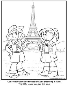 French Girl Guide Coloring Page for France. Print multiple copies to use as a. Girl Scout Swap, Girl Scout Leader, Girl Scout Troop, International Girls Day, France Craft, Gs World, Activities For 5 Year Olds, Girl Scout Activities, Girl Scout Juniors