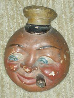 Vintage Chalkware Tobacciana, Man-in-Moon Sailor w/ Stogie, match holder c.1940