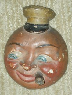 Vintage Chalkware Tobacciana, Man-in-Moon Sailor w/ Stogie, match holder c.1940