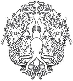 Craft mythical decor, bags, and even garments with this sophisticated mermaid crest. Downloads as a PDF. Use pattern transfer paper to trace design for hand-stitching.