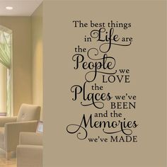 Family Wall Decal Best Things in Life People Places Memories, Vinyl Wall Lettering for Family Room Decor, Wall Words for Home Decoration Vinyl Wall Quotes, Vinyl Wall Decals, Family Wall Quotes, Wall Stencil Quotes, Farmhouse Wall Decals, Kitchen Wall Decals, Vinyl Dekor, Family Room Decorating, Letter Wall