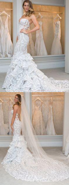 Mermaid Wedding Dresses,Sweetheart wedding dress,Sweep Train wedding dress,Lace wedding dress,Tulle wedding dress,Sexy Bridal Gown #annapromdress #weddingdress #wedding #bridalgown #BridalGowns #cheapweddingdress #fashion #style #dance #bridal