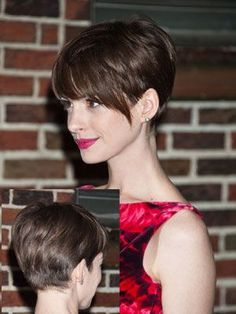 Anne Hathaway growing out a pixie haircut. if i could get my fine hair to stack up in the back, this would be the thing/ Anne Hathaway growing out a pixie haircut. if i could get my fine hair to stack up in the back, this would be the thing/ Short Brown Haircuts, Short Hair Cuts, Short Hair Styles, Pixie Cuts, Long Pixie Haircuts, Pixie Cut With Long Bangs, Thick Bangs, Straight Haircuts, Plait Styles