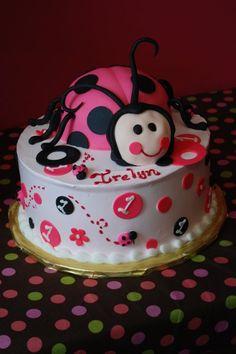 first birthday cakes, pink lady bug, Cake Guru, Oshkosh, WI