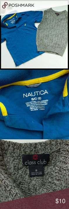 {Boys} Set of 2 sweater vest and Polo shirt In perfect condition. Nice Class Club sweater vest and Nautica blue Polo shirt. Both size 8. From a smoke and pet free home. I ship fast!  *Bundle and save 10%  *No trades  *All offers considered Nautica Shirts & Tops