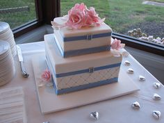Diamonte Roses Pink and Blue Wedding Cake | Flickr - Photo Sharing!