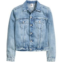 Denim Jacket $29.99 ($30) ❤ liked on Polyvore featuring outerwear, jackets, denim jacket, flap jacket, button jacket, blue jackets and distressed jacket