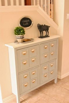Faux Library Card Catalog Console