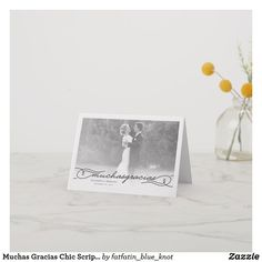 Muchas Gracias Chic Script Photo Wedding Thank You Note Card by fatfatin Thank You Note Cards, Wedding Thank You Cards, Wedding Loans, Wedding Dress Preservation, Wedding Venues In Virginia, Discount Wedding Invitations, Wedding Entertainment, Entertainment Ideas, Wedding Insurance