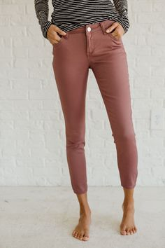 Break away from your jean routine with our Flawless Rose Skinny Jeans! These skinnies are so chic and perfect for fall with their rose/dark mauve shade!