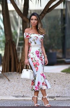 This dress is so me! Tropical and floral fresh summer look, feminine style for a wedding guest or a summer date. Off shoulder bardot midi length dress with a flowing hem line, white barely there sandals heels with ankle strap, while mini tote bad and hanging earrings. Perfect for a holiday outfit!