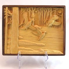 Relief Carving of Ducks in Flight   Handmade by RicksWoodArt, $250.00