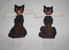 Vintage Halloween cat diecuts