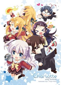 Charlotte Kawaii Japanese Anime T-Shirts Styles) Manga Anime, Moe Anime, Anime Chibi, Kawaii Anime, Anime Art, Angel Beats, Otaku, Gurren Laggan, Anime Pictures