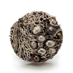 MYUNG URSO-S KR      Pearl Garden brooch  Loofah,freshwater pearl,asian ink,acrylic paint, sterling silver,Thread, lacquer- 2009      (via Myung Urso - jewelry)