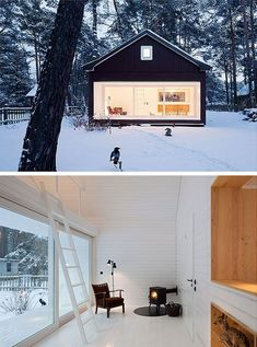 scandinavian architecture is all about picture frame window installments and whitewash. and can& help but wonder about their insulation techniques. Scandinavian Cabin, Scandinavian Architecture, Architecture Design, Cabin Design, House Design, Winter Cabin, Cozy Cabin, Winter House, Cabins And Cottages