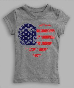 Heather Gray Weathered Flag Heart Fitted Tee - Toddler & Girls